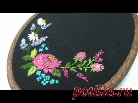 Mini Embroidery    Satin Stitch    Garden Flowers * Мини Вышивка