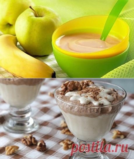 ФРУКТОВЫЕ МУССЫ - ДЕТЯМ  **Фруктовый с корицей: банан, яблоко -в блендер, добавь молоко 3-4сл, корицу 10г, ваниль 5г - 2мин, и готово! *Творожно-банановый, и целых 11г белка! Белый густой слой: творог 200г, банан 1шт, ванилин -в блендер. Шоколадный: творог 100г. банан, какао 2сл. *В креманку: ложкой аккуратно белый, затем шоколад, и орехи!