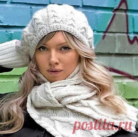 Комплект спицами. Берет и шарф с косами. Описание и схема вязания