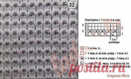 Крупный узор         спицами для вязания пуловера — как связать Огромным преимуществом вязания изделий крупными узорами является то, что вяжутся такие вещи достаточно быстро, а выглядят изделия связанные такой вязкой достаточно рельефно и современно. Рапорт, приведенного ниже узора, составляет всего две петли. В высоту рапорт состоит из четырех рядов. Чтобы связать такой пуловер приготовьте спицы не менее №5, а лучше №6-№8.   Описание узора:   1 ряд- чередовать 1 лицевая п...