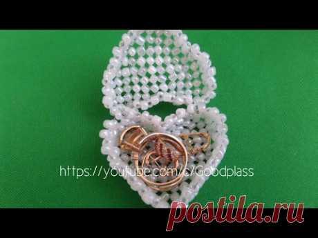 Volume casket heart from beads. Weaving from beads. Beadwork. Beading