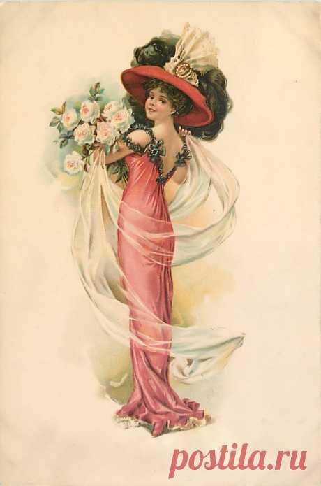 """Из коллекции «Винтаж» Старинные открытки. Lovely ladies (72 фото) """" Картины, худож"""