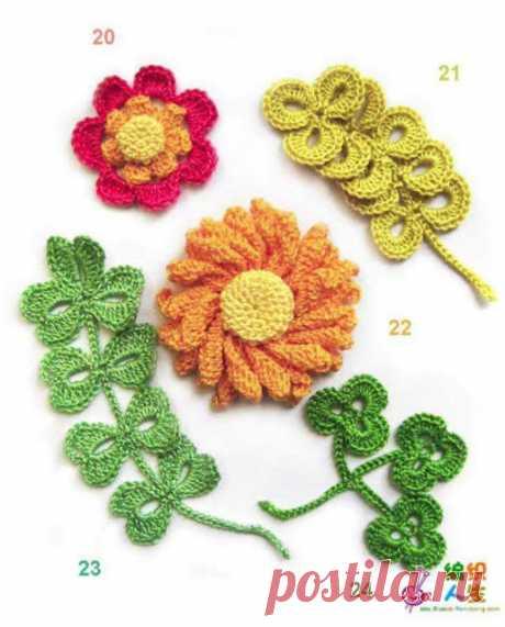 Вязание крючком цветов и листьев для декора одежды     Если добавить какой-нибудь аксессуар, например, красивый цветок.   И вот ваша унылая одежка стала смотреться более свежо и стильно. Для такого случая я предлагаю вам вот такой симпатичные цветочки…