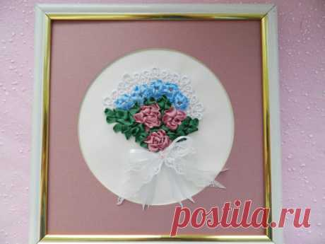 Framed Embroidery Picture Spring Bouquet with от YakovlevaLena