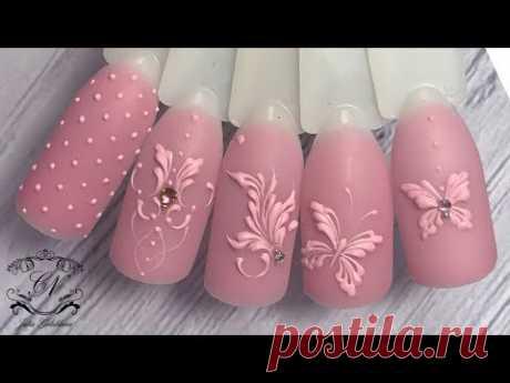 ТОПОВЫЙ дизайн ногтей. БАРЕЛЬЕФНЫЙ дизайн ногтей в цвет основного фона.