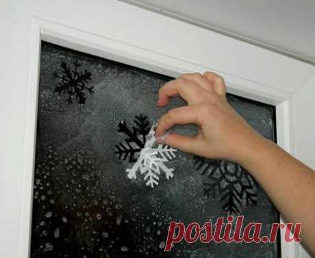 Новогодний декор окна на скорую руку » Вышивка, бесплатные схемы вышивки крестом, рукоделье.