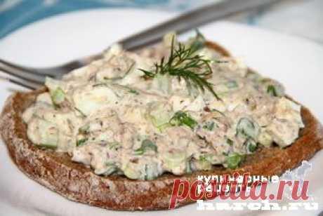 Салат-паста из сайры с сельдереем     Харч.ру  - рецепты для любителей вкусно поесть