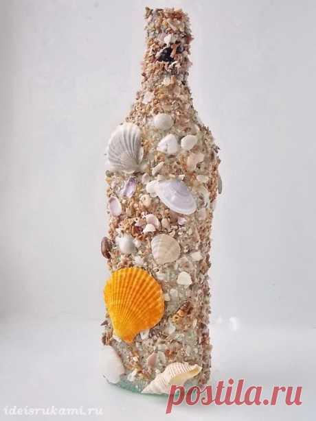 «Декупаж бутылок ракушками в морском стиле» — карточка пользователя Татьяна Ермак в Яндекс.Коллекциях