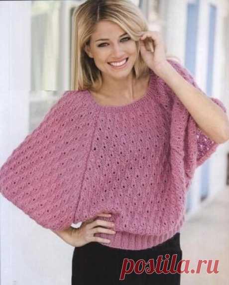 Пуловеры с коротким рукавом. Идеи и схемы для спиц | Южная сова | Яндекс Дзен