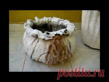 The fabric concrete flowerpot which is made-2 an easy and interesting method