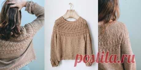 Пуловер с узором на кокетке Hanami - Вяжи.ру