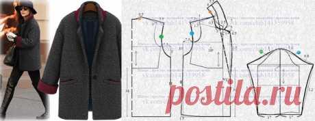 Пальто-пиджак со спущенной линией плеча - моделирование по базовой выкройке. Пошаговое построение базовой выкройки  https://vk.com/album-141359958_248902091 #простыевыкройки #простыевещи #шитье #пальто #моделирование