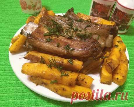 Вкусное сочное горячее блюдо. Запеченные ребрышки с тыквой в удачном маринаде - Рецепты для дома