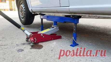 Опорная стойка для автомобиля под домкрат своими руками При ремонте и обслуживании автомобиля часто возникает необходимость его поднимать домкратом. Надежность последнего оставляет желать лучшего, поэтому для перестраховки, перед тем как залезать под машину, обычно подставляют колодки. Сделав такую опорную стойку, вы сможете опускать вес автомобиля на