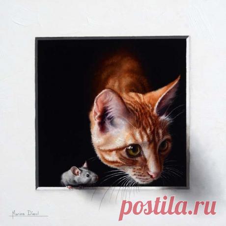 """""""Где мышка, там и кошка"""" французская художница Марина Диул и её работы."""