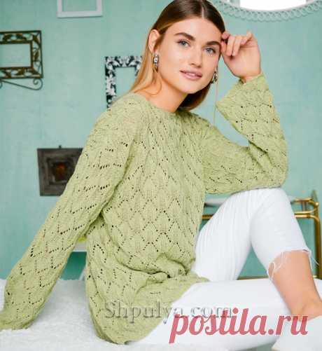 Светло-зеленый ажурный пуловер из шелка с хлопком - SHPULYA.com