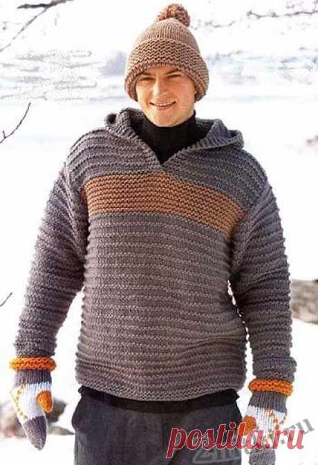 Теплый пуловер с капюшоном — Две нитки