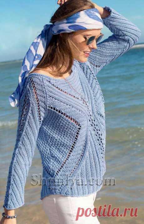 Голубой пуловер со структурным узором - SHPULYA.com