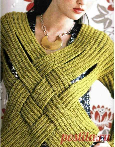 Вязаные жилеты из плетёных полосок (идеи)   Tvorlen   Яндекс Дзен