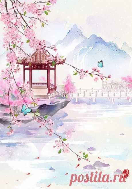The Magic cafe: Традиционный китайский стиль - пейзаж, цветы: нежное, весеннее, фантастическое