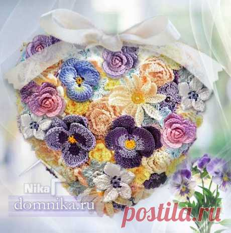 Схемы вязания цветов крючком понно с цветами