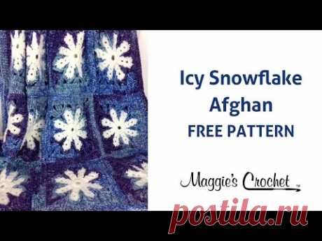 Icy Snowflake Afghan Free Crochet Pattern - Right Handed