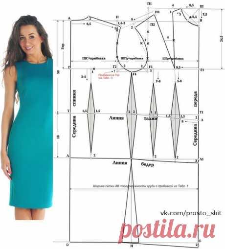 Построение выкройки основы женского платья (блузки) | Шить просто!