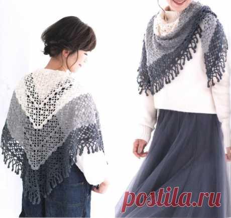 Шаль крючком (из японского журнала) #crochet #вязание_крючком #шали_крючком