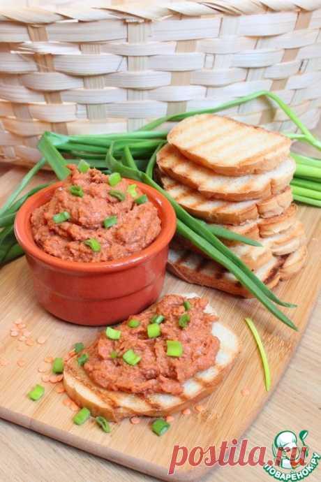 Паштет из печеного перца и чечевицы - кулинарный рецепт