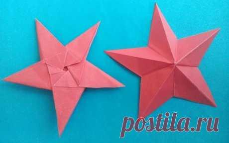 Пятиконечные звезды-оригами Детские поделки оригами. Звезды оригами - мастер-класс, пошаговая инструкция. Интересная идея для для детских поделок к Дню Победы 9 мая.