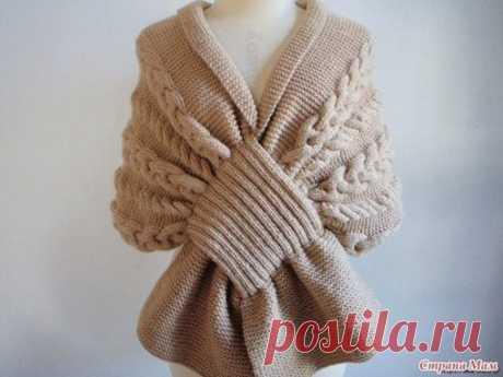 Красивый шарф - накидка. Описание:  Чтобы связать такой красивый, оригинальный шарф, вам потребуется: - 700г чистой овечьей шерсти Показать полностью…