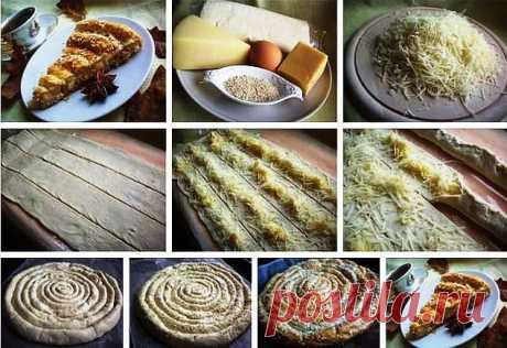 Этот слоеный пирог с сыром выглядит очень необычно, а потому его вид не только улучшит аппетит, но и украсит любой, даже праздничный, стол. Слоеный пирог с сыром Вам потребуется: Слоеное тесто — 400 г. Сыр твердый — 200 г. Сыр мягкий — 100 г. Яйцо (желток) — 1 шт. Кунжут — 1 столовая …
