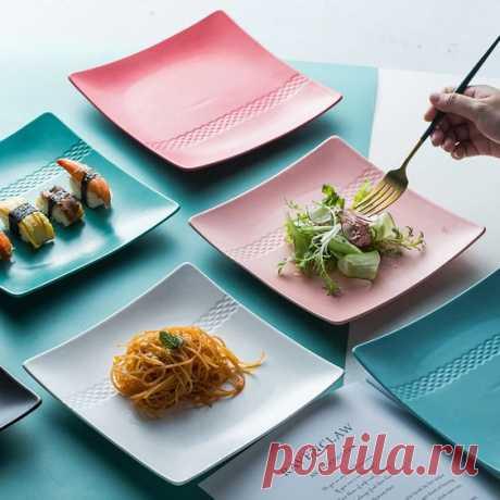 квадратные матовые цветные тарелки