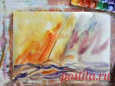 Парус. Рисунок акварелью / Работа с бумагой / PassionForum - мастер-классы по рукоделию