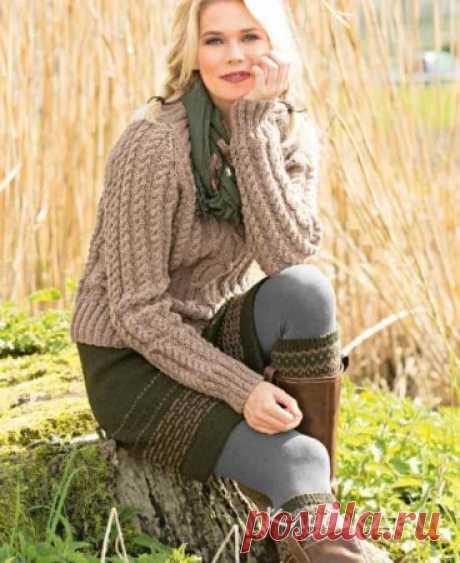 Пуловер с «косами», юбка и гетры. Вязание спицами схемы и описание