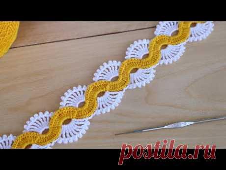 Очень простое ЛЕНТОЧНОЕ КРУЖЕВО вязание крючком для начинающих Easy to Crochet TAPE LACE Tutorial