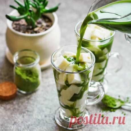 Йогуртовое желе в сиропе из зеленого чая