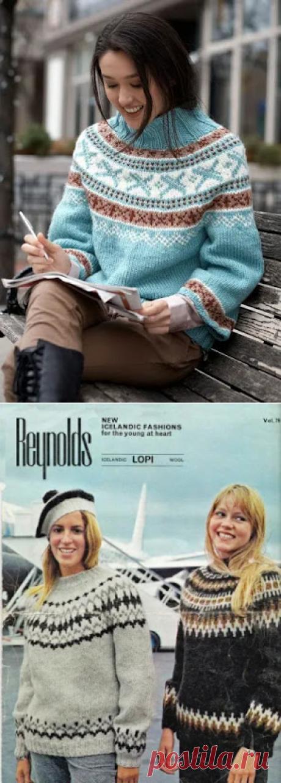 1000 идей для вязания спицами: Лопапейса или узорчатый свитер с круглой кокеткой