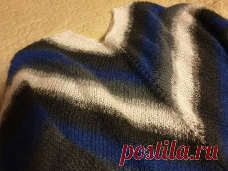 Тоненький мохеровый свитерок из остатков/вязание спицами