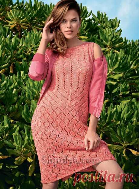 Ажурное платье кораллового цвета - SHPULYA.com