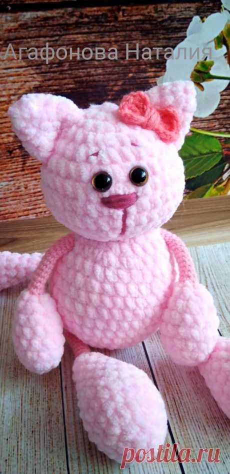 PDF Котик крючком. FREE crochet pattern; Аmigurumi doll patterns. Амигуруми схемы и описания на русском. Вязаные игрушки и поделки своими руками #amimore - плюшевый котик, кот из плюшевой пряжи, кошечка, кошка, котенок.