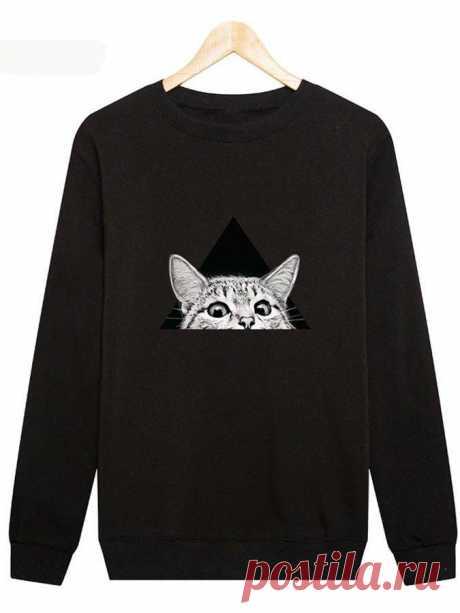 С Длинным Рукавом Шею Животных Рубашки & Блузки&Рубашки – glamtome