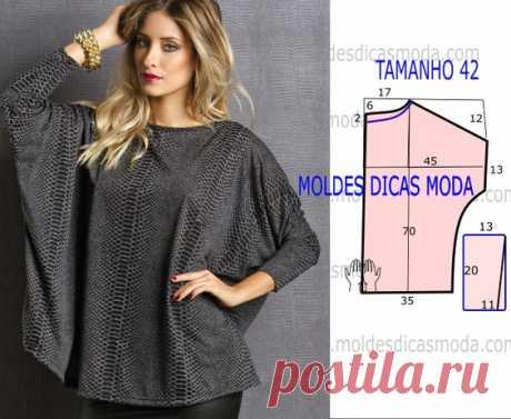 Блуза свободного кроя, выкройка на размер 42 (евр.). #простыевыкройки #простыевещи #шитье #блуза #блузка #выкройка