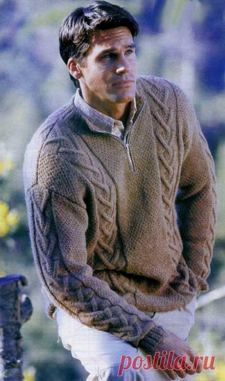 Вязание спицами для мужчин Пуловер