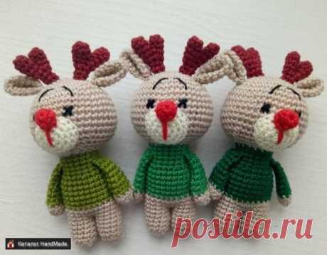 Новогодние игрушки амигуруми Оленята ручной работы купить в Минске и Беларуси, цены на HandMade