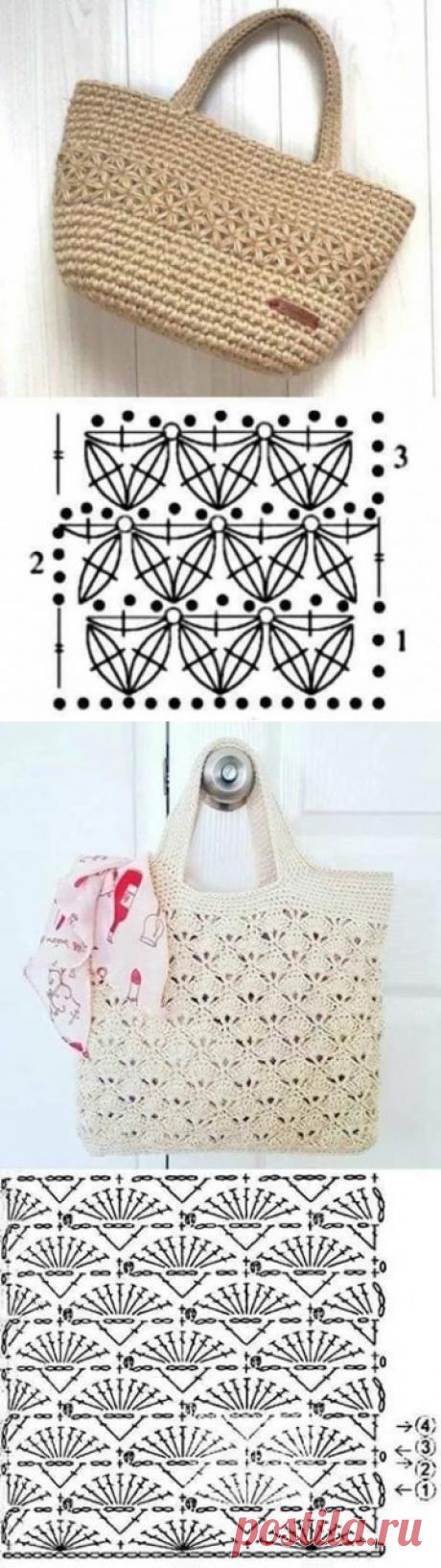 Узоры для сумок, крючком. Схемы. / knittingideas.ru