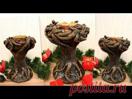 DIY/Very beautiful Candle Holder / Wood imitation/Christmas decor