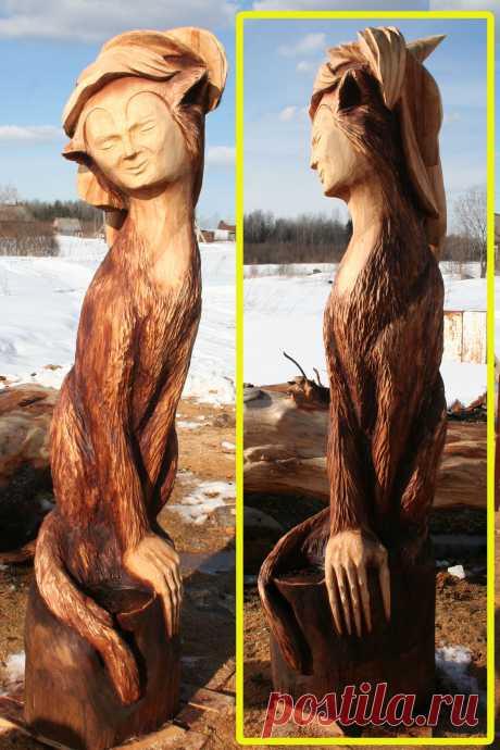 """Деревянная скульптура """"АЛИСА"""", выполнена бензопилой из ясеня. Высота 180 см."""