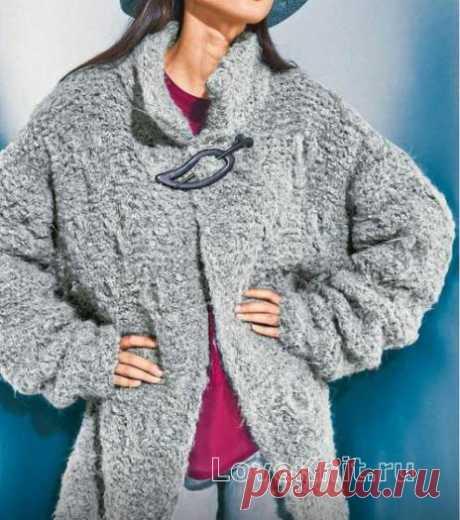 Удлиненное пальто оверсайз с воротником-стойкой схема спицами » Люблю Вязать
