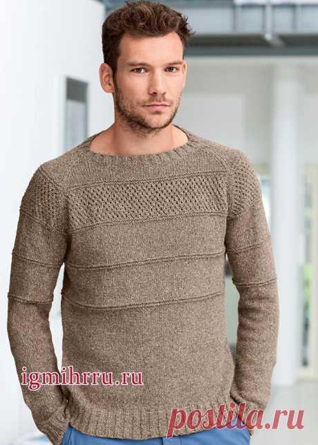Бежевый мужской пуловер-реглан с фантазийным узором. Вязание спицами